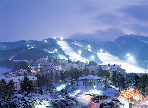 韩国最大滑雪场龙平 感受冬季恋歌中的美景